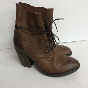 STEVE MADDEN Brown RAVINA LEATHER ANKLE BOOTS